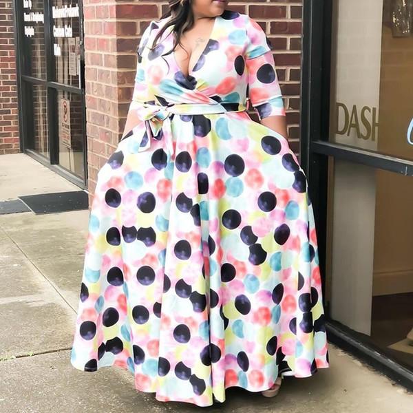 Africano mais vestidos tamanho para Mulheres 4xl 5XL Sexy Pescoço V Aline Casual outono Teste padrão de bolinhas Pavimento comprimento longo vestido maxi 2019