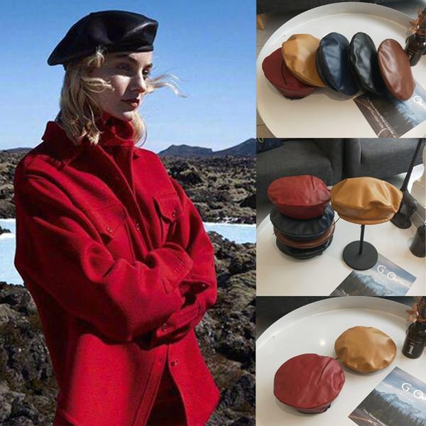 Meihuida Women PU Leather Solid Beret Hat French Caps Painter Hats UK Style Vintage Autumn Winter Retro Beanie