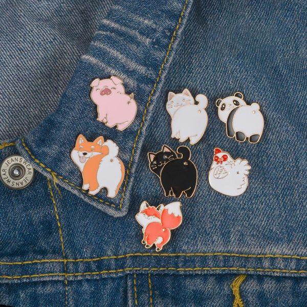 Esmalte Animal Broche Pin Perro lindo Gato Cerdo Fox Broche Pasadores de solapa Insignia Joyería de moda Will y Sandy Drop Ship
