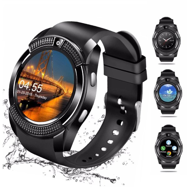 V8 Smart Watch Wristband Watch Band With 0.3M Camera SIM IPS HD Full Circle Display Smart Watch For Android System With Box