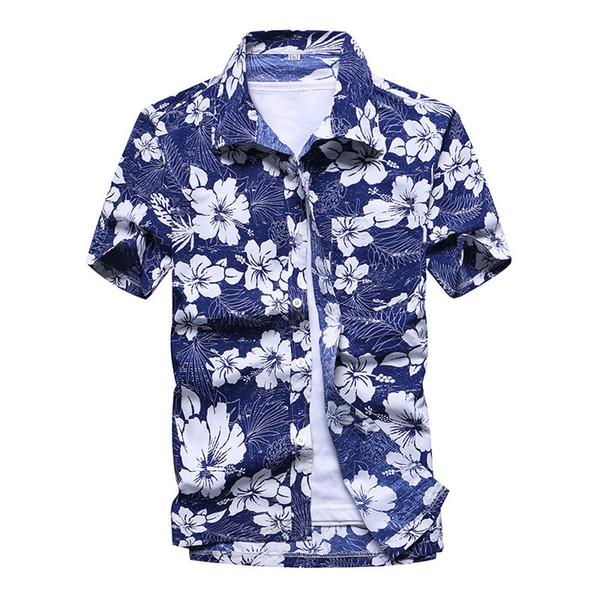 Praia camisas havaianas homens roupas 2019 moda verão coqueiro impresso manga curta botão para baixo havaiano aloha camisas mens y19050703
