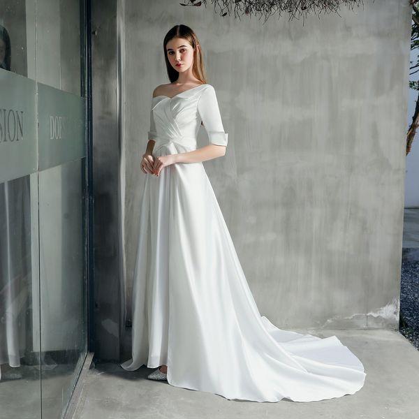 2019 Elegante Satén Blanco Un Hombro Vestidos de Noche Medias Mangas Vestidos de Baile Vestidos de Fiesta Sencillos de Pick Ups Mujeres Formales
