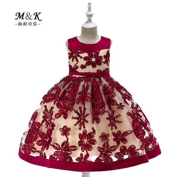 foreign trade fashion girl's three-dimensional embroidered dress flower wedding dress fluffy dress sleeveless splicing children's skirt