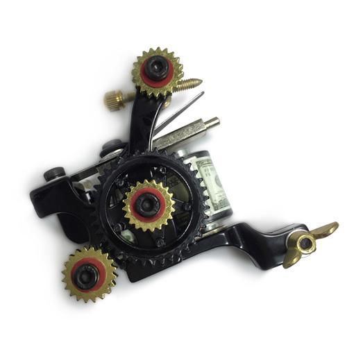 "Free Shipping Pro Balanced high-strength Tattoo Machine Hand Assembled Shader Gun 10-Wrap Coils ""Wheel of Pleasure"""