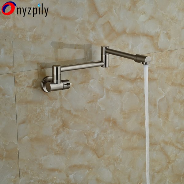 Single Handle Brushed Nickel Bathroom Kitchen Faucet One Hole Cold Water Folding Washing Basin Taps