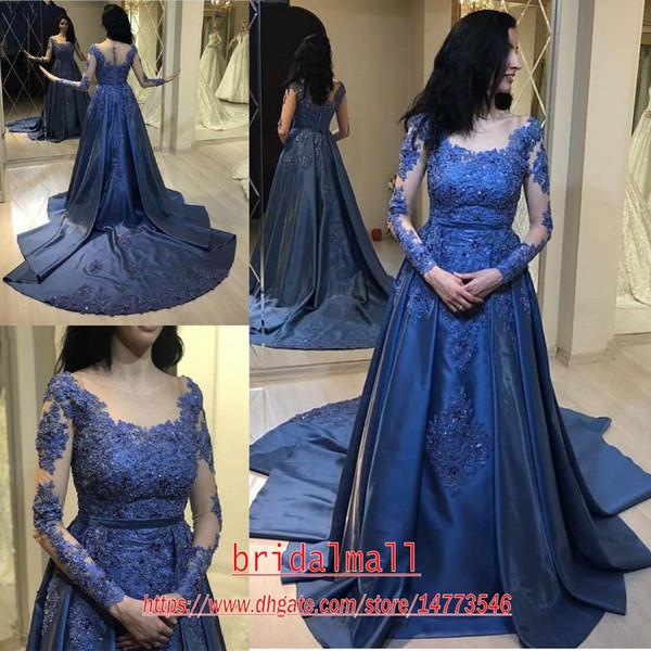 Vestidos de fiesta pura mangas largas azul real vestidos de noche del satén de 2020 Modest apliques moldeados Formal Celebrity Prom del partido del vestido de quinceañera