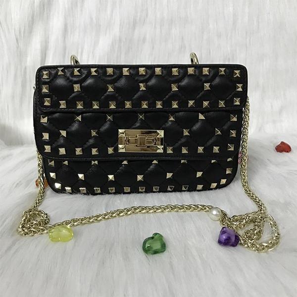 Бесплатная доставка модельер сумка черная заклепка плечо сумка овчины сумка / мода женская сумка / оптовая продажа