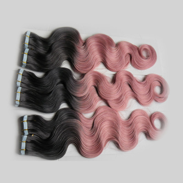Ombre virgin Body Wave Hair Two tone virgin brazilian tape in human hair extensions 3Pack/Lot body wave tape in hair extensions PU skin weft