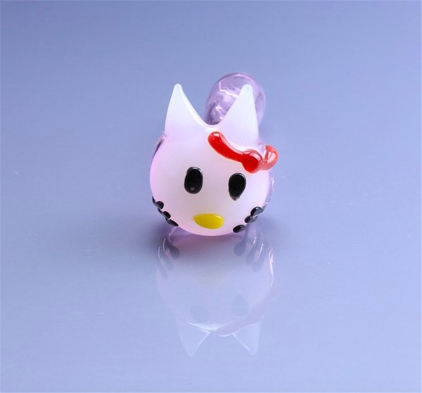 "Pink Hello Kitty Cat Pipe 4"" inch Glass Smoking Pipes Hand Blown Glass Pipes Oil Burner Pipes New Tobacco Glass Pipe Spoon Pipe"