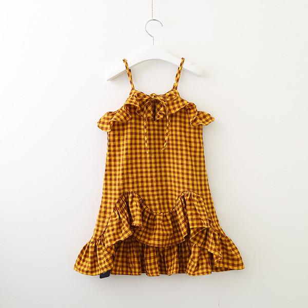 Korean 2019 summer new girls plaid dress girl's Lolita Style skirt female baby suspender flounce ruffled dress vest irregular skirt