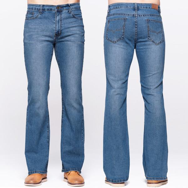 Jeans Slim Boot da uomo GRG Classic Stretch Denim Jeans Sky Blue leggermente svasati Stretch casual