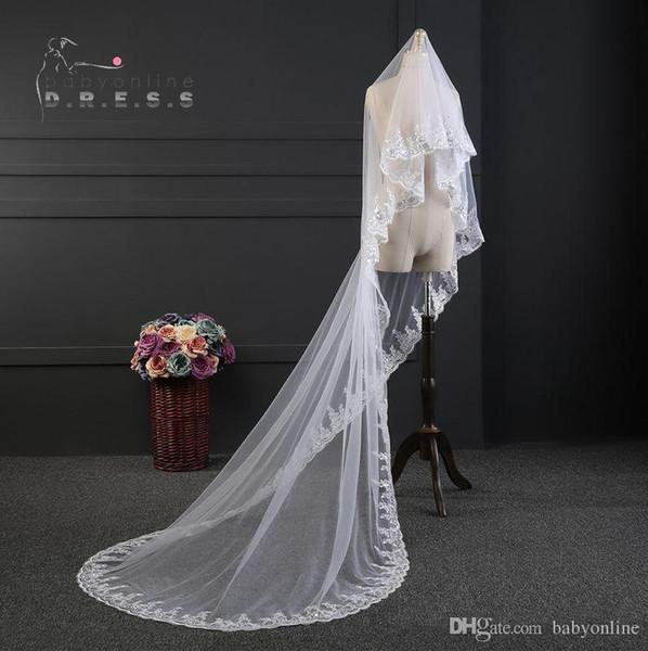 Gorgeous Long White/ Ivory Bridal Veils Formal Church Wedding Lace Veil Appliques Beading Cheap Muslim Appliqued Edge Veil For Brides CPA889