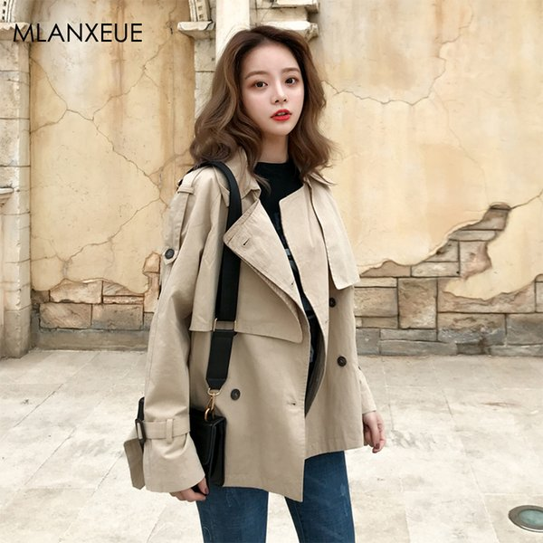 Moda Outono Mulheres Casaco Elegante Do Vintage Simples Selvagem Solto Senhoras Trench Coats Estilo Coreano Blusão Jaqueta Sobretudo