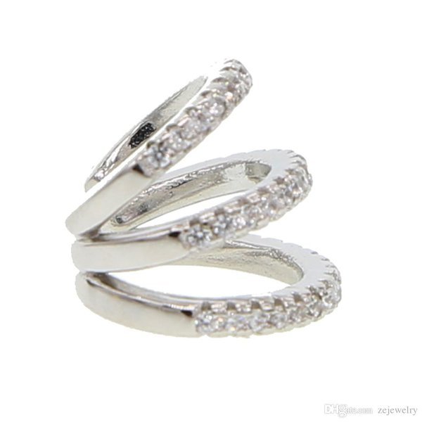 2019 New fashion three cz circle Clip Earrings Elegant CZ Cuff Earrings For Woman Party Charm Jewelry Gift brincos dainty cz cute ear
