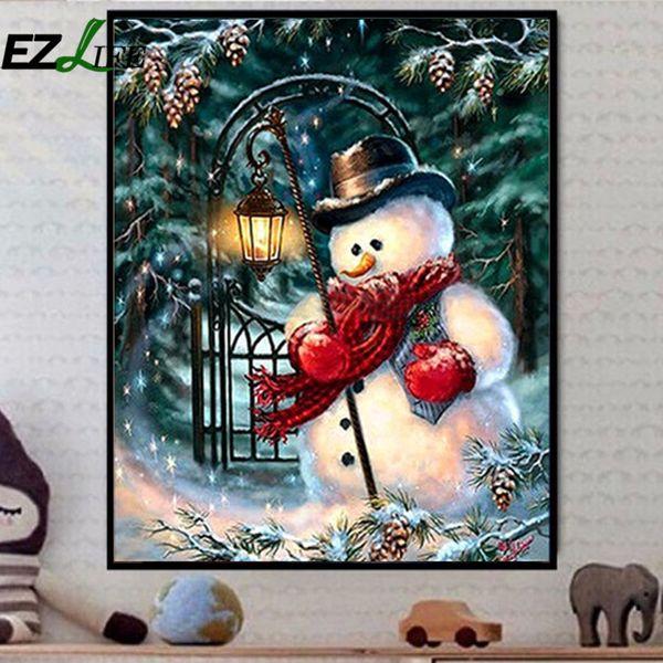Diy navidad muñeco de nieve bordado de diamante navidad diy arte de la pared tatuajes de punto de cruz decoración del hogar accesorios