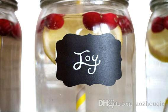 Wholesale 36pieces Fancy Mason Jar Wedding Chalkboard Labels Wine Glass Drink Cup Label diy Reception Decoration idea