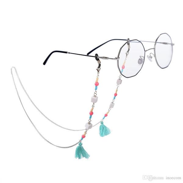Nova Moda Olho Óculos de Sol Cadeia Artesanal Contas Borla Óculos Titular Cord Cordão Colar Antiderrapante Óculos Acessórios