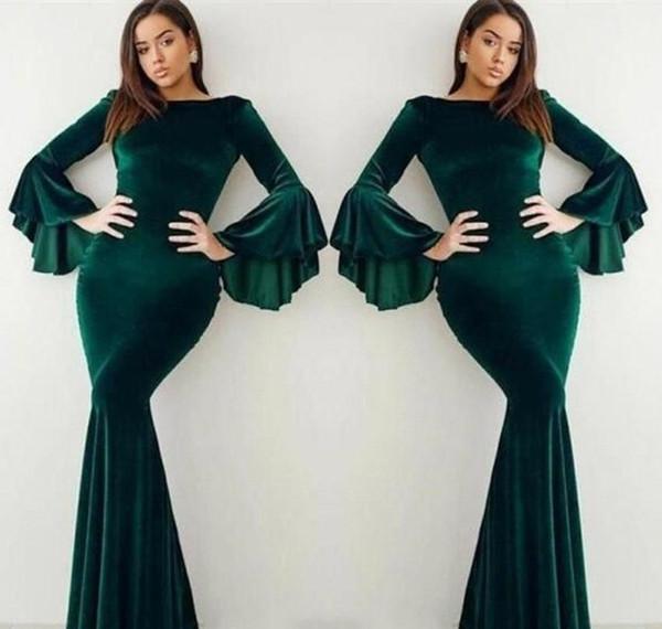 2019 Velvet Dark Green Evening Dress Elegant Arabic Dubai Flare Long Sleeves Holiday Women Wear Formal Party Prom Gown Custom Made Plus Size