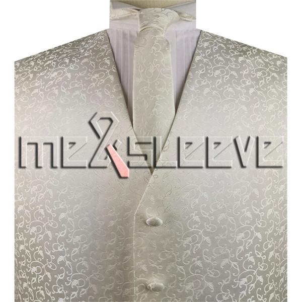 MAN CLASSIC BLACK PINSTRIPED SLEEVELESS SUIT ELEGANT CEREMONY IVORY FLORAL WAISTCOAT SET(waistcoat+necktie+hanky+cufflinks)