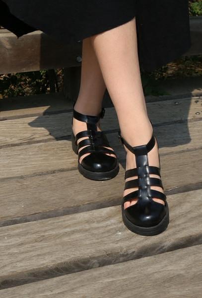 Plateforme Size151 Sandales pour femmes en cuir à talon épais Chaussures de ville classiques Boucle en métal pour fêtes et banquets Sandales sexy taille 35-41