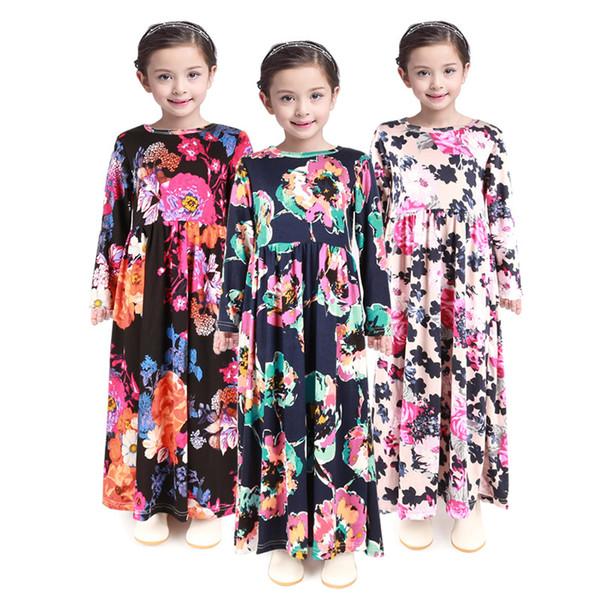 Fashion Girl Floral Long Dress Bohemian manica lunga Bambini Princess Dress Baby Abbigliamento Bambini Flower Print Beach Dress TTA687