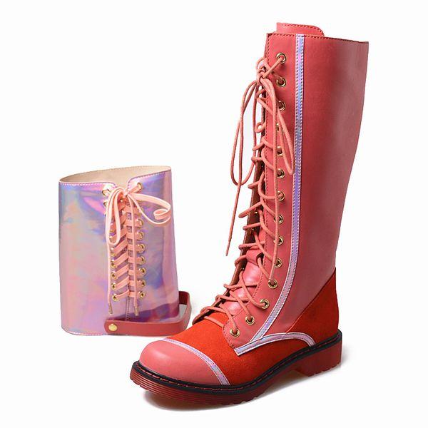 Mode aus echtem leder frauen kniehohe stiefel runde zehe plattform niedrigen ferse gummi botas schnüren sich zwei stil tragen ritter stiefel mujer