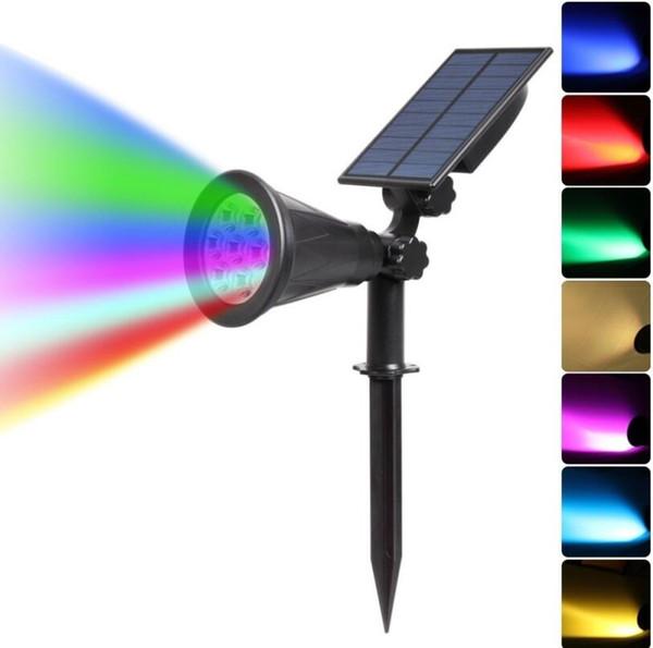 solar LED de iluminación exterior 2-en-1 impermeable Foco solar 4 LED ajustable ligero de la pared del paisaje de iluminación de luz de seguridad
