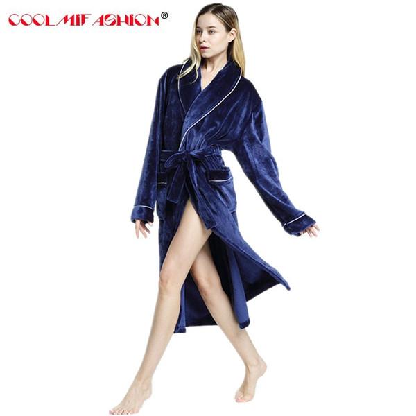Flannel Bath Robe sexy Female Bathrobes Pajamas Night Gown Robe Femme Long Sleeve Spring Home Bathrobe Dressing Gowns For Women