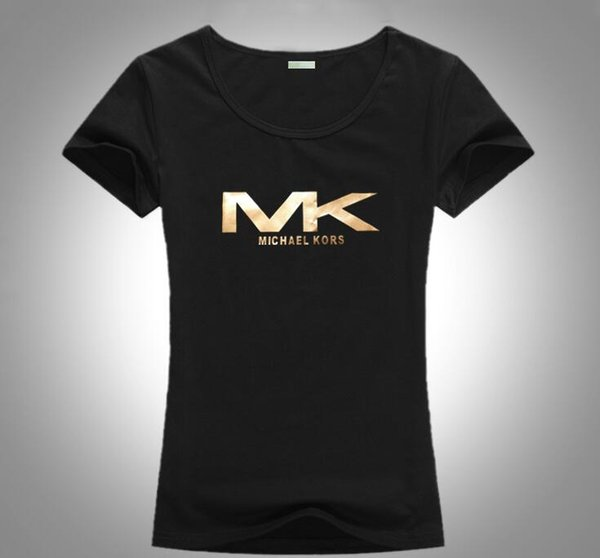 Moda sıcak satış monogram baskı kısa kollu yuvarlak yaka saf pamuk bayanlar T-shirt Avrupa ve Amerika sıcak stil ücretsiz navlun