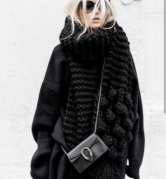 2019 bufandas largas para las mujeres la bufanda del invierno manta de punto de cachemir suave Súper Chunky Mantón Pico hacer punto bufanda larga grande grande de la capucha de la franja de la bufanda
