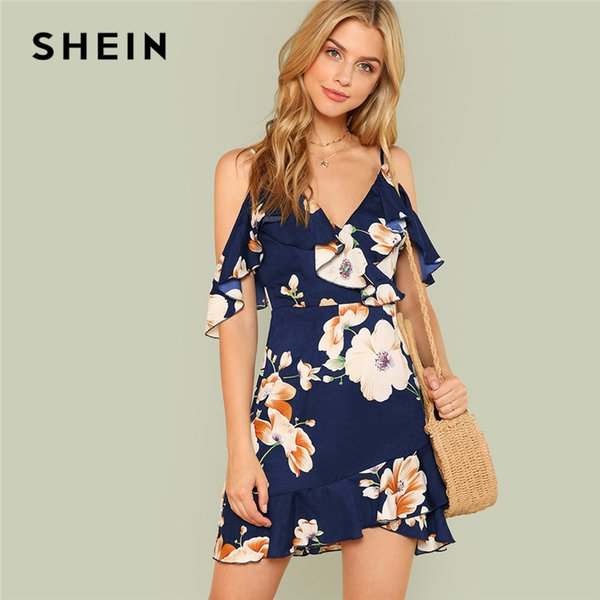 e400d2ece5 SHEIN Multicolor Vacation Backless Boho Bohemian Beach Flounce Cold  Shoulder Floral Print Dress Summer Women Casual