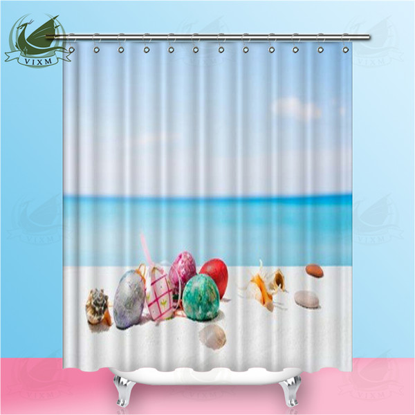 Vixm Easter Eggs Tropical Beach On White Sand Shower Curtains Cartoon Cute Rabbit Waterproof Polyester Fabric Curtains For Home Decor