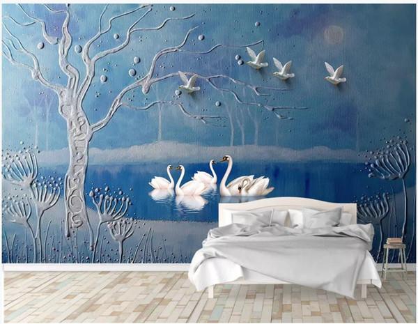 Custom photo wallpapers 3D murals wallpaper European oil painting goose lake big tree mural background wall papers painting