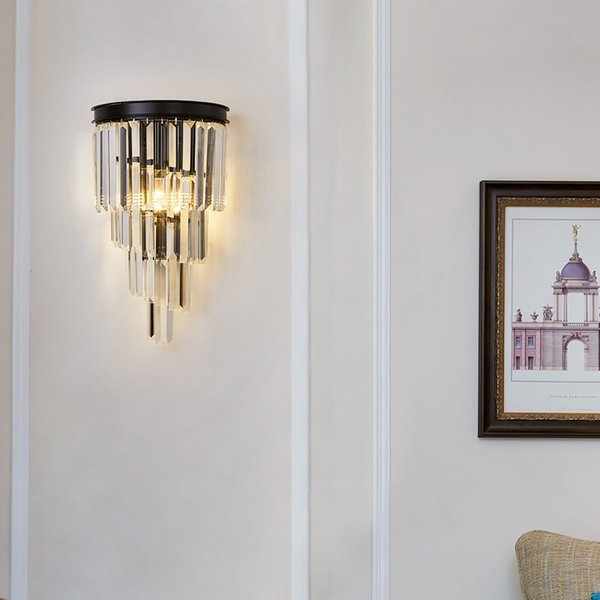 Gold/Black Modern Wall Sconce Light Crystal Wall Luxury Creative Warm Hallway Bedroom Bedside Lamp ems
