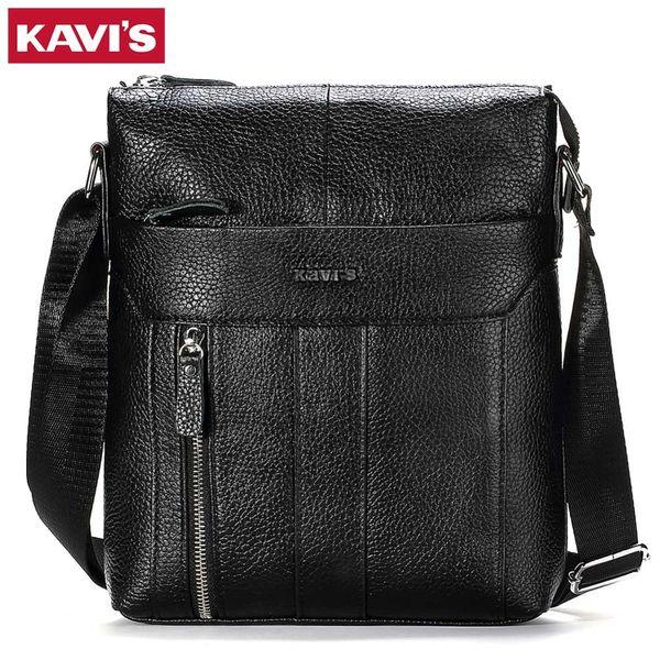 KAVIS HOT!!! Genuine Leather Men's Crossbody Bag Casual Business High Quality Mens Messenger Bags Vintage Men Handbags Promotion