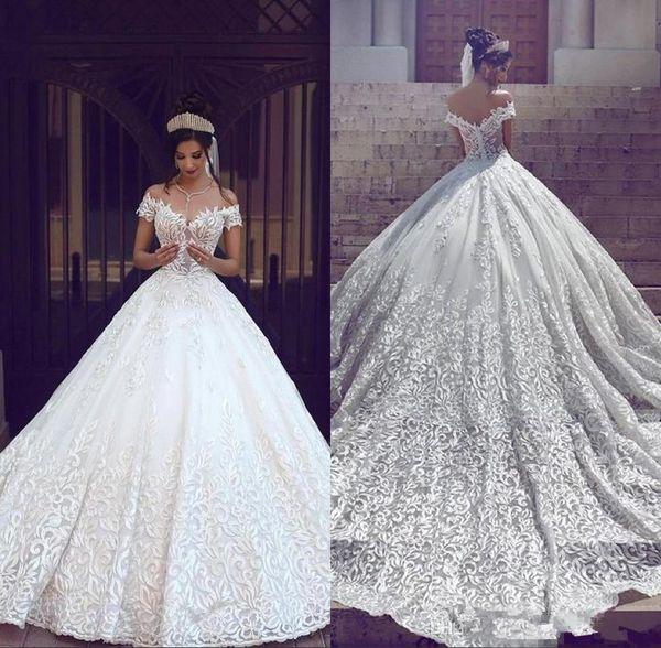 Saudi Arabisch Dubai Luxus Kurze Ärmel Brautkleider Schulterfrei Appliques Backless mit Sweep Zug Brautkleider Robe de wedding