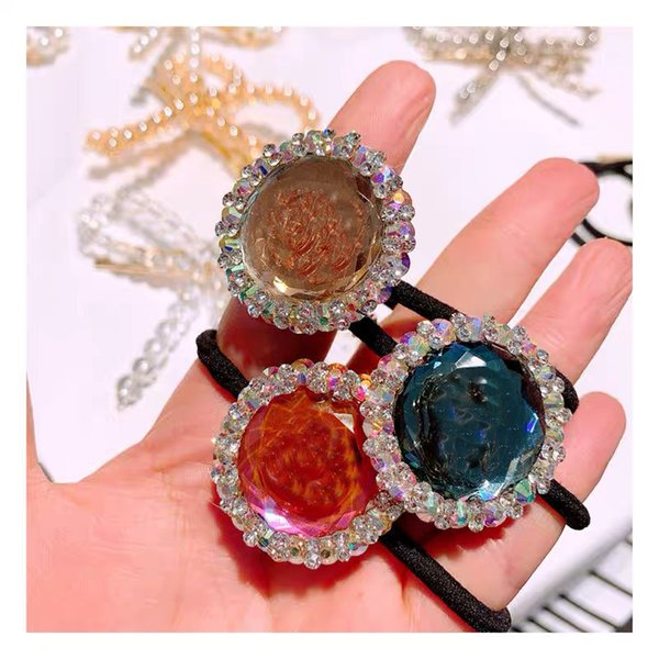 C letter 5 colors early spring explosion models color crystal full diamond BlingBling flashing gems hair ring ball head tie 3pcs/lot