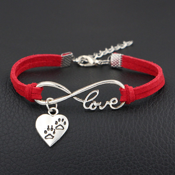 New Handmade Infinity Love Double Dog Paw Prints Charm Heart Pendant Red Leather Suede Bracelet Bangles Mixed Color Velvet Rope Jewelry Gift