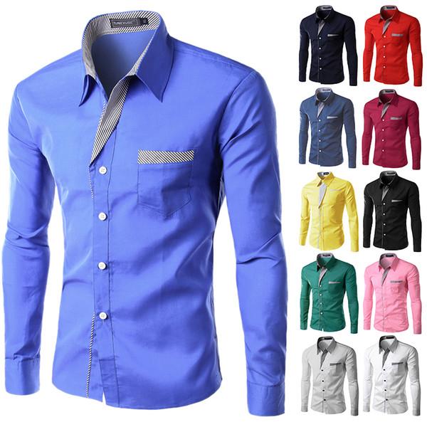 Vente chaude 2018 Nouvelle Mode Hommes Chemises À Manches Longues En Coton Mince Fit Français Manchette Casual Homme Social Robe Chemise Heren Hemden M-4XL