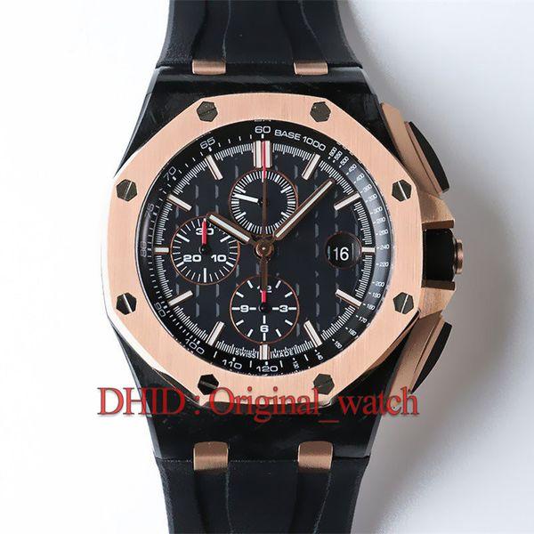 44mm erkek saatler sınırlı sayıda 26400 CAL.3126 mekanik otomatik kol karbon kılıf siyah kauçuk kayış su geçirmez Montre de luxe