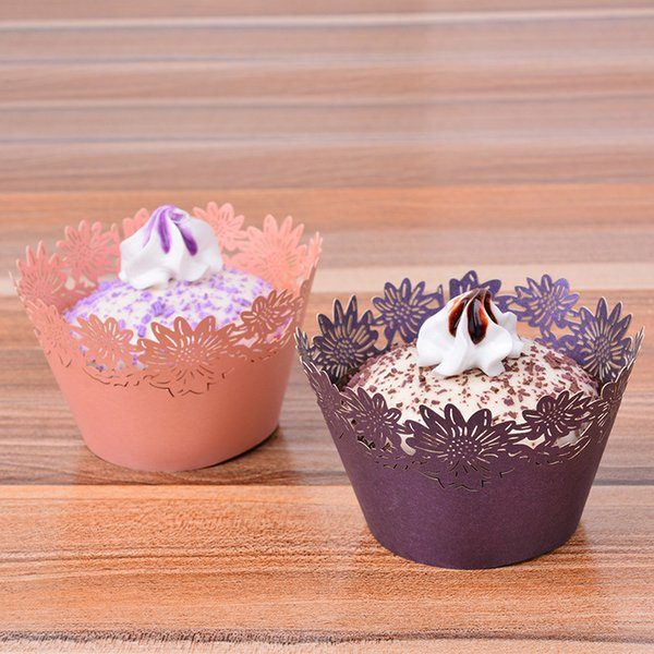 Hollow Out Flower Vine Cupcake Paper Wrappers Cake Decorating Icing Muffin Cake Cup Wedding Birthday Christmas Party Decorating Tools li4781