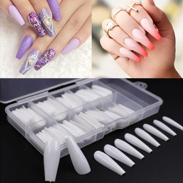 best selling 100pcs box Fake Nail Artificial Long Ballerina Clear Natural white False Coffin Nails Art Tips Full Cover Manicure + Jewelry Box