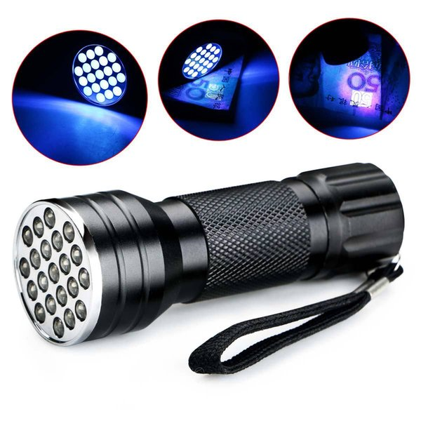 Mini Portable UV Ultra Violet Purple 21 LED Flashlight Blacklight High Brightes Torch Lamp Light 395nm