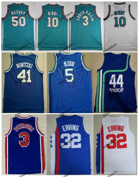 top popular NCAA Vintage 44 Pistol Pete Maravich 3 Abdur Rahim 10 Mike Bibby 50 Reeves Julius Erving 3 Drazen Petrovic Jason Kidd Basketball Jersey 2020
