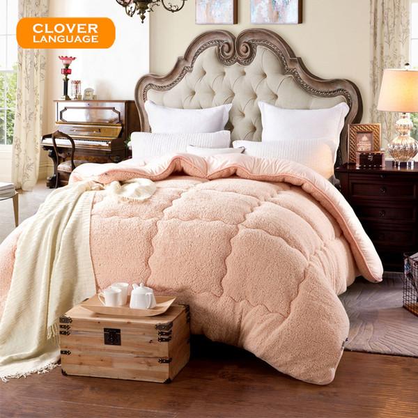 Winter Soft Wool Cashmere Comforter Duvet Thickening Plush Quilt Winter Warm Super Soft Spring 200x230cm Size Camel Color