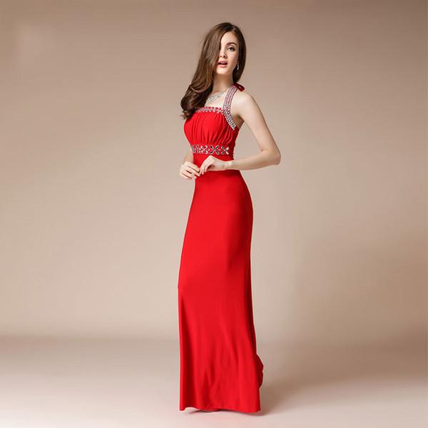 Abito da donna Elegante sirena Abito da sera turco Abito da sera lungo sexy rosso Prom Abiti da fidanzamento Moda Perline