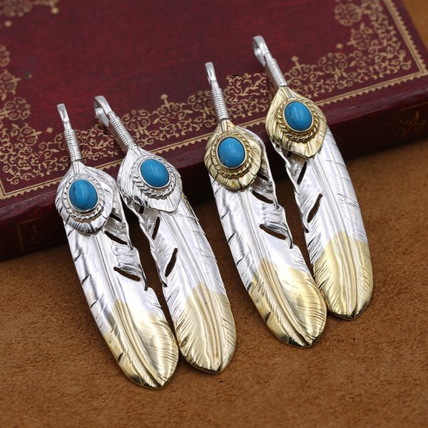 best selling S925 Sterling Silver Jewelry Retro Thai Silver Feather Blue Men Women Pendants Sweater Chain Pendant Lockets