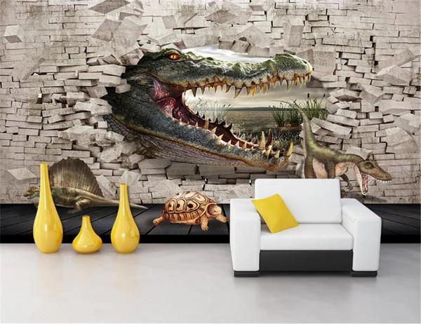 3d Cartoon Animal Silk Wallpaper Crocodile Dinosaur Turtle 3D Painting Background Wall Painting HD Superior Interior Decorations Wallpaper