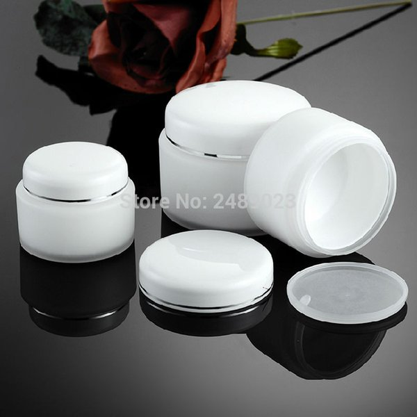 New 15g 30g 50g PP Double layer White Cosmetic Sample Containers for Gifts & Home-made Plastic Pot Jar 100pcs/lot