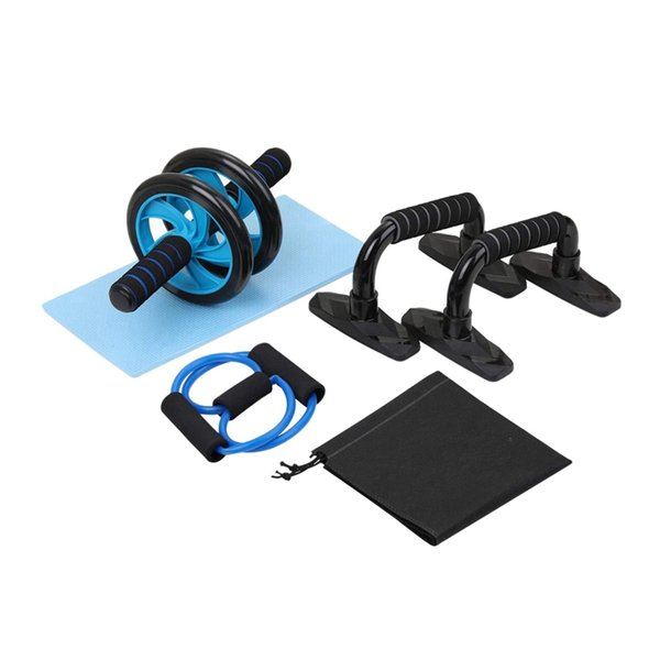 top popular HOT-5-In-1 Muscle Trainer Wheel Roller Kit AB Wheel Abdominal Roller with Push UP Bar Jump Rope Knee Pad for Home Exercise 2021